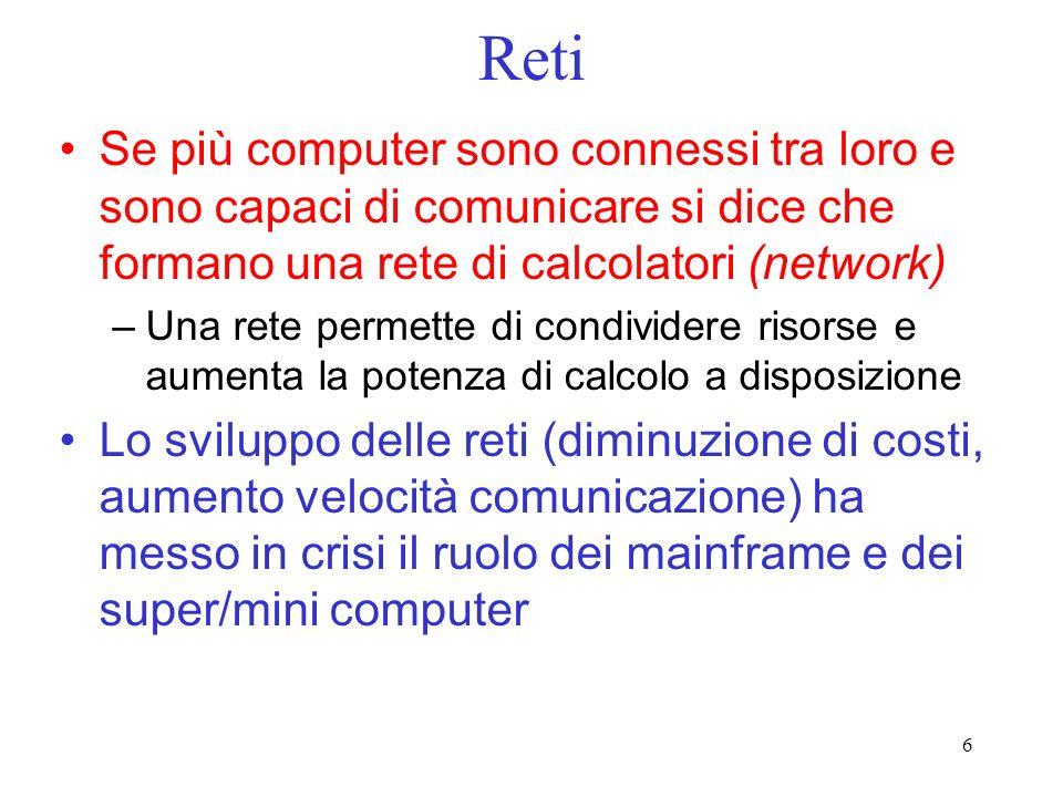 Reti Se più computer sono connessi tra loro e sono capaci di comunicare si dice che formano una rete di calcolatori (network)