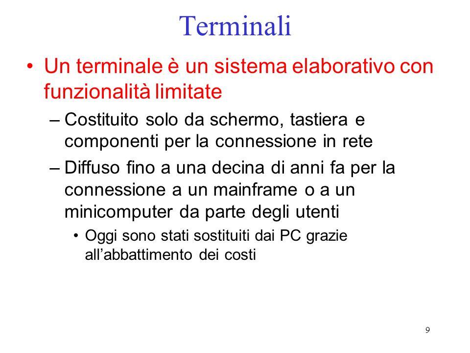 Terminali Un terminale è un sistema elaborativo con funzionalità limitate.
