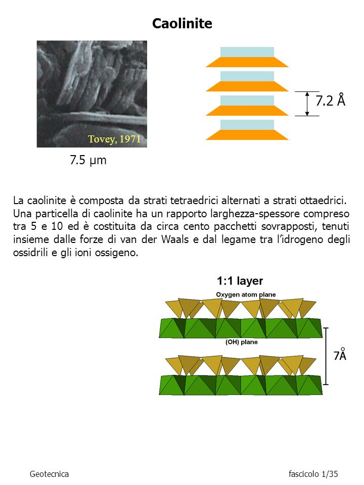 Caolinite 7.2 Å. Tovey, 1971. 7.5 μm. La caolinite è composta da strati tetraedrici alternati a strati ottaedrici.