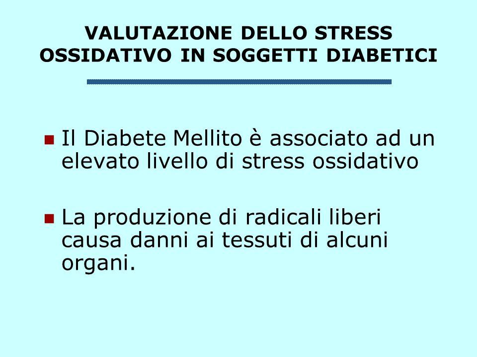 VALUTAZIONE DELLO STRESS OSSIDATIVO IN SOGGETTI DIABETICI