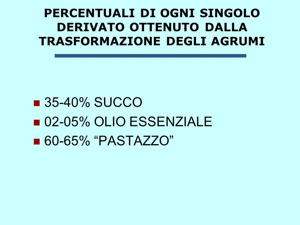 35-40% SUCCO 02-05% OLIO ESSENZIALE 60-65% PASTAZZO