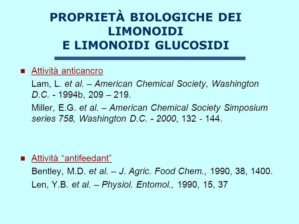 PROPRIETÀ BIOLOGICHE DEI LIMONOIDI E LIMONOIDI GLUCOSIDI