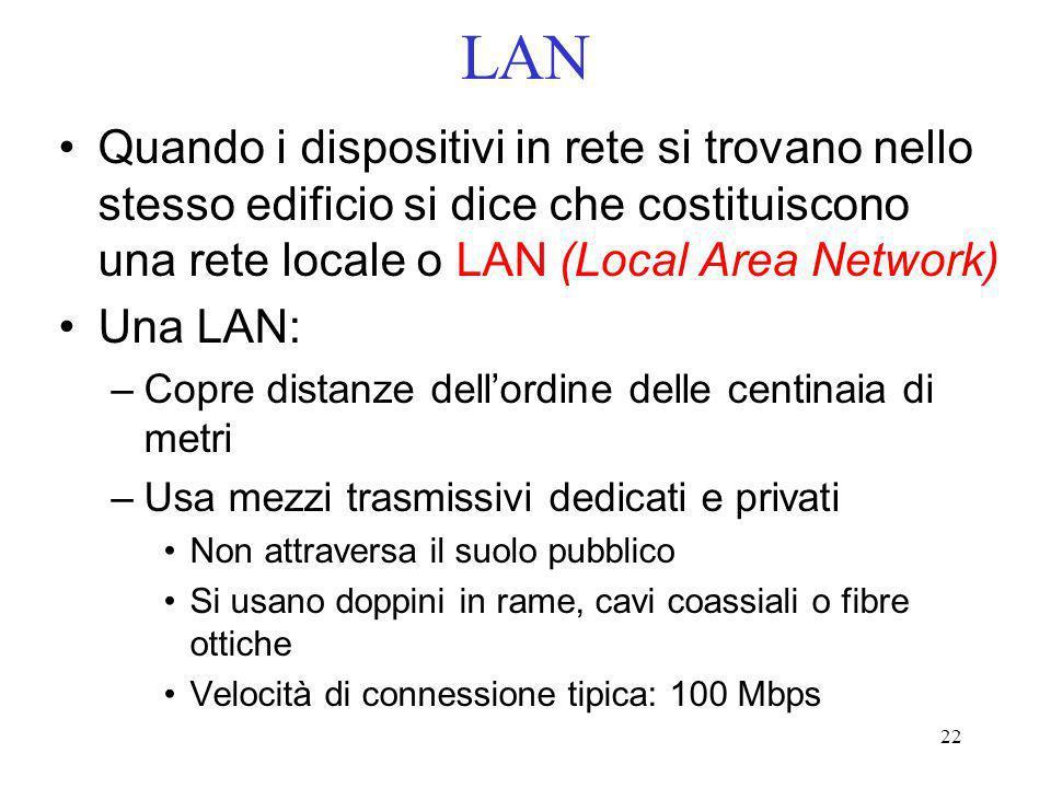 LAN Quando i dispositivi in rete si trovano nello stesso edificio si dice che costituiscono una rete locale o LAN (Local Area Network)