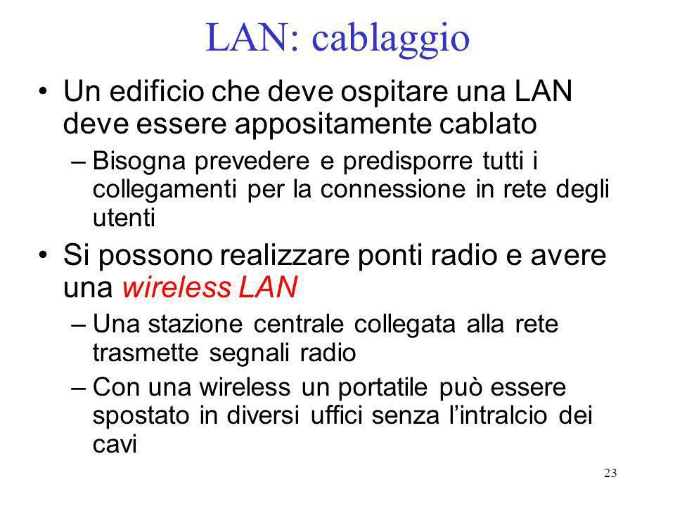 LAN: cablaggio Un edificio che deve ospitare una LAN deve essere appositamente cablato.