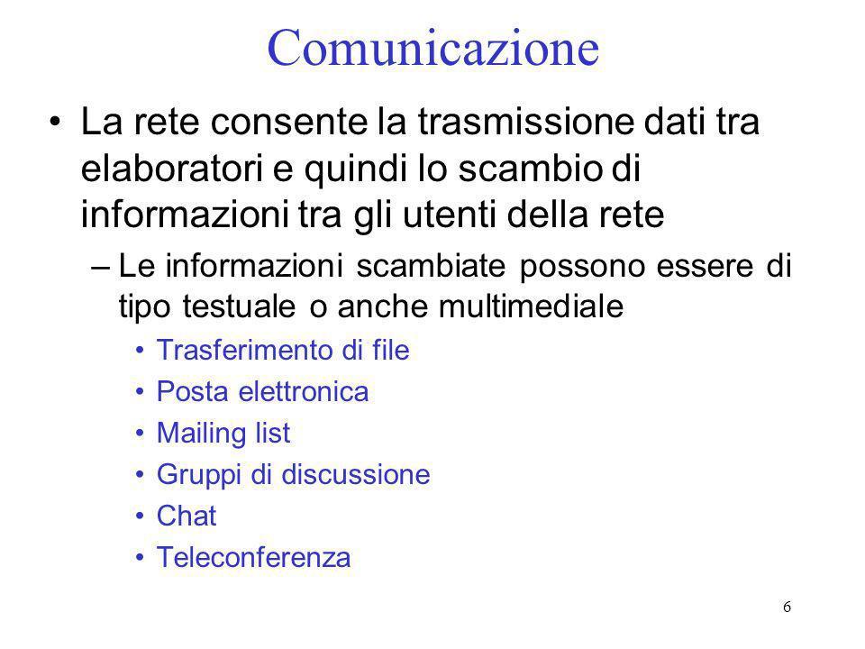 Comunicazione La rete consente la trasmissione dati tra elaboratori e quindi lo scambio di informazioni tra gli utenti della rete.