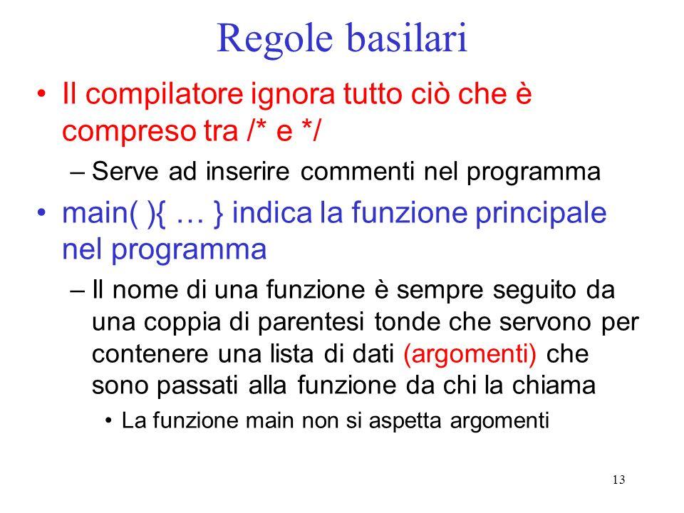 Regole basilari Il compilatore ignora tutto ciò che è compreso tra /* e */ Serve ad inserire commenti nel programma.