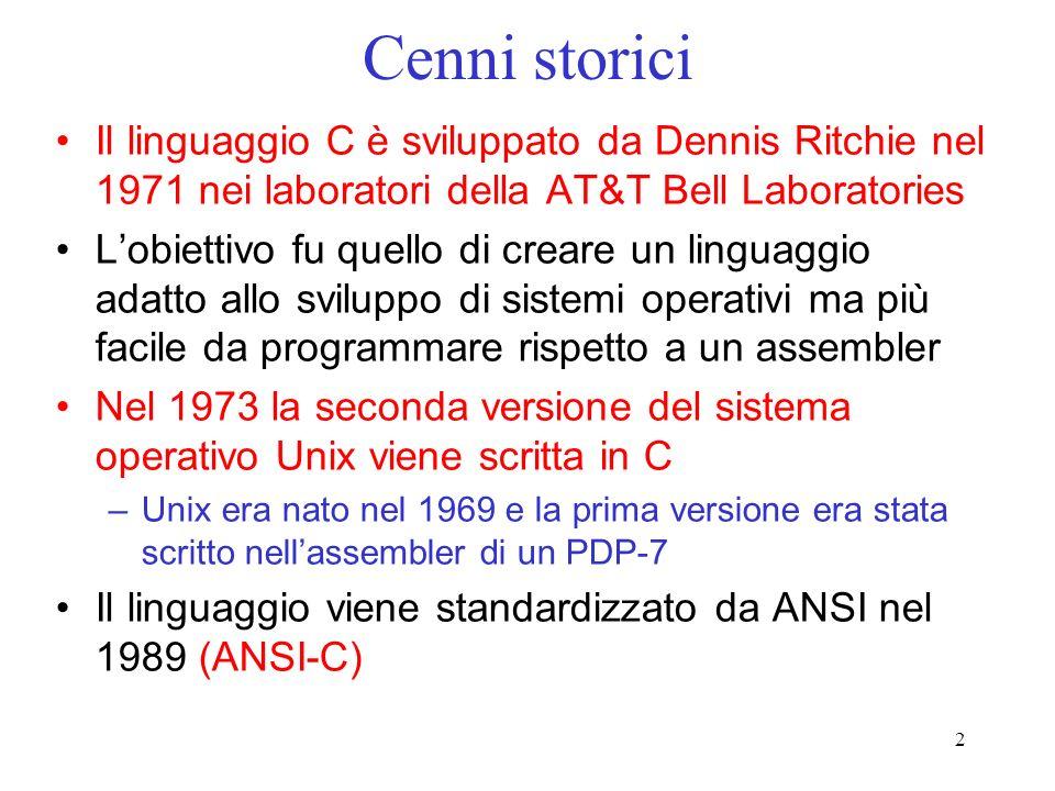 Cenni storici Il linguaggio C è sviluppato da Dennis Ritchie nel 1971 nei laboratori della AT&T Bell Laboratories.