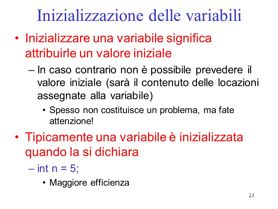 Inizializzazione delle variabili