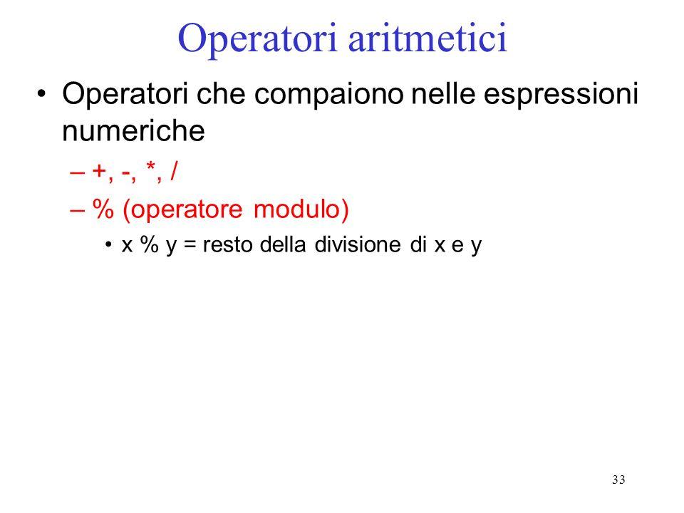 Operatori aritmetici Operatori che compaiono nelle espressioni numeriche. +, -, *, / % (operatore modulo)