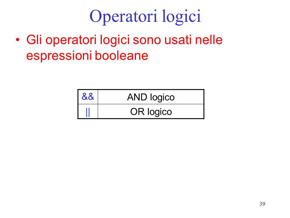 Operatori logici Gli operatori logici sono usati nelle espressioni booleane.