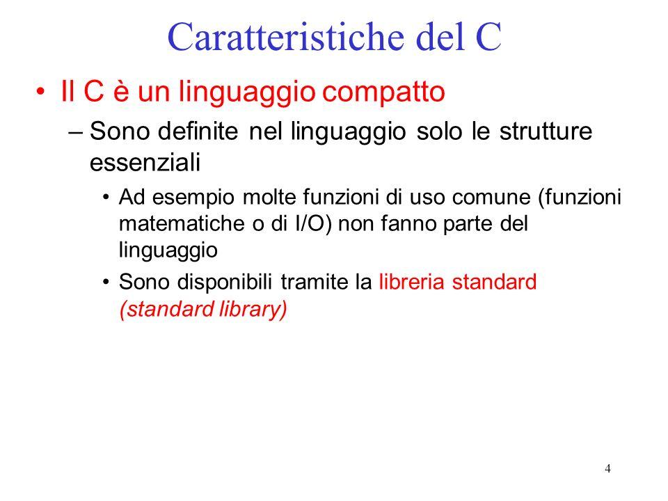 Caratteristiche del C Il C è un linguaggio compatto