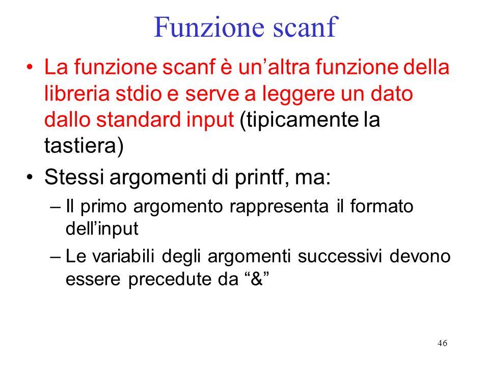 Funzione scanfLa funzione scanf è un'altra funzione della libreria stdio e serve a leggere un dato dallo standard input (tipicamente la tastiera)