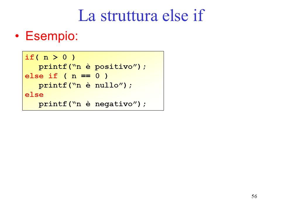La struttura else if Esempio: if( n > 0 ) printf( n è positivo );