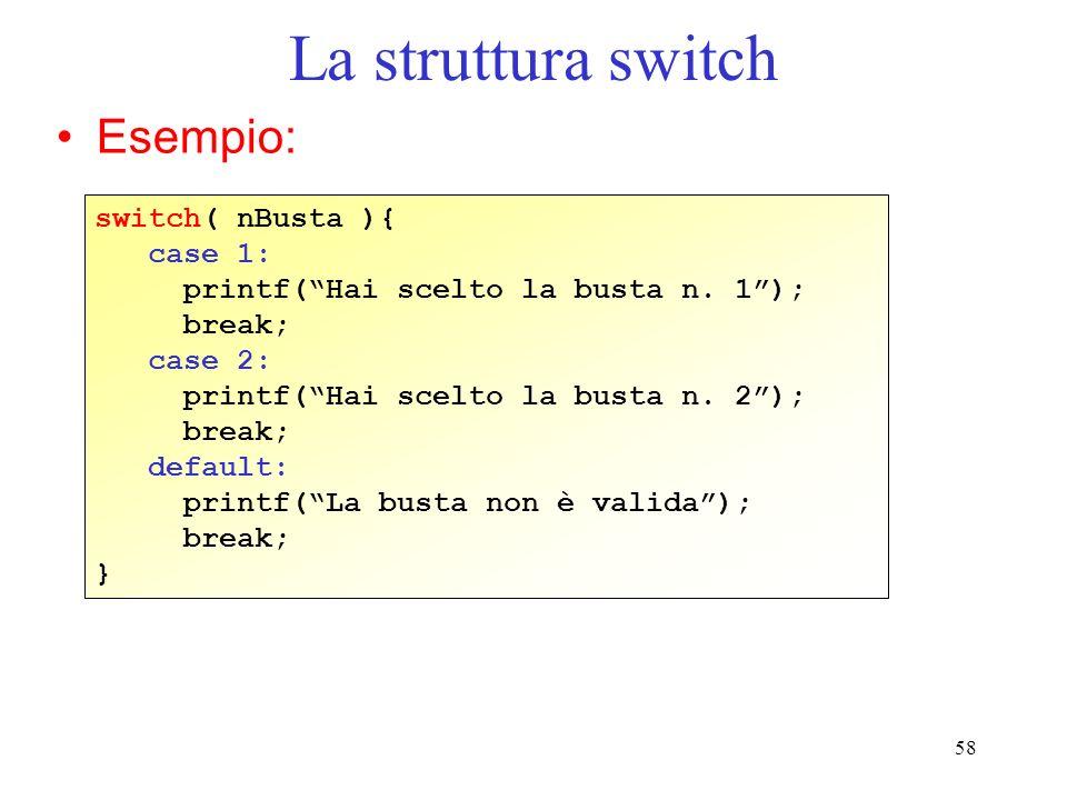 La struttura switch Esempio: switch( nBusta ){ case 1: