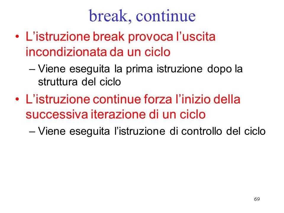break, continueL'istruzione break provoca l'uscita incondizionata da un ciclo. Viene eseguita la prima istruzione dopo la struttura del ciclo.