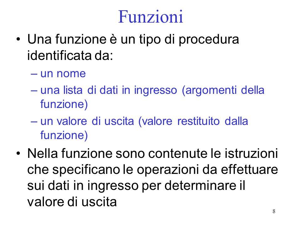 Funzioni Una funzione è un tipo di procedura identificata da: