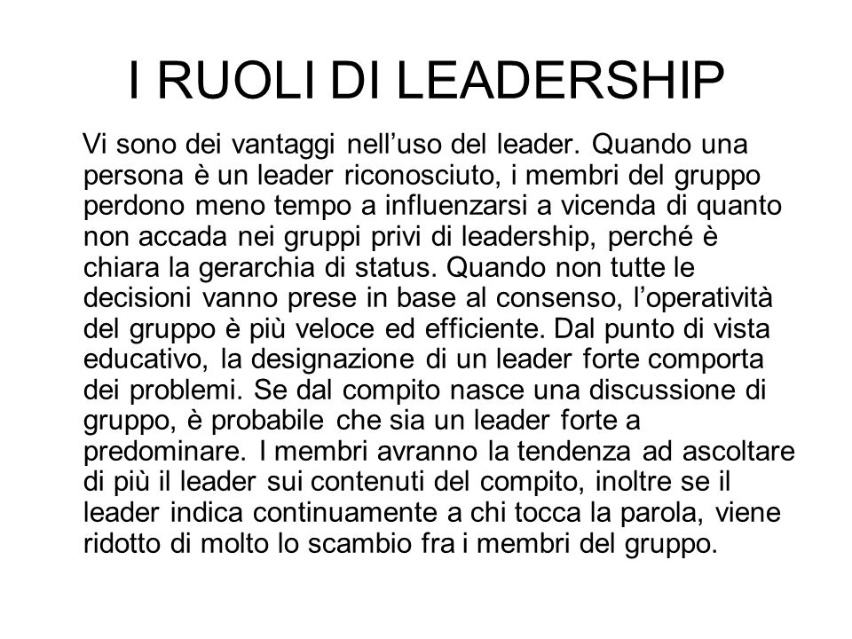 I RUOLI DI LEADERSHIP