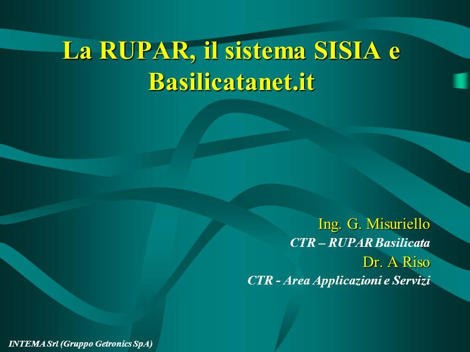 La RUPAR, il sistema SISIA e Basilicatanet.it