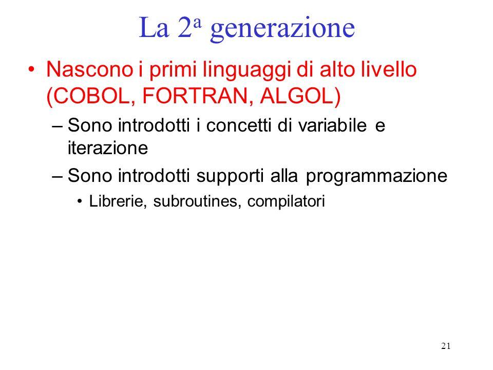 La 2a generazione Nascono i primi linguaggi di alto livello (COBOL, FORTRAN, ALGOL) Sono introdotti i concetti di variabile e iterazione.