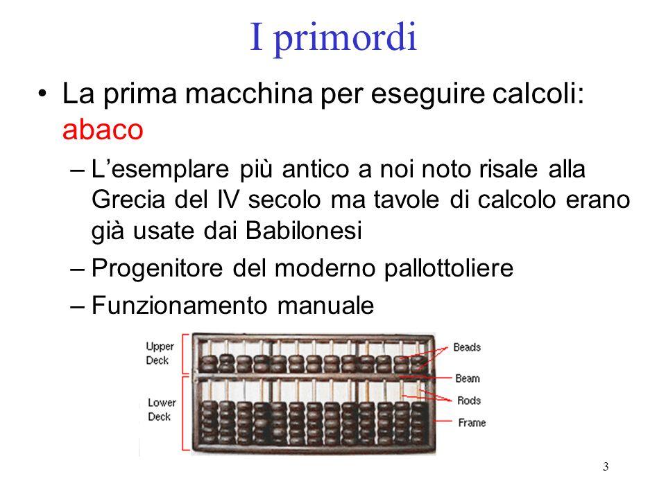 I primordi La prima macchina per eseguire calcoli: abaco