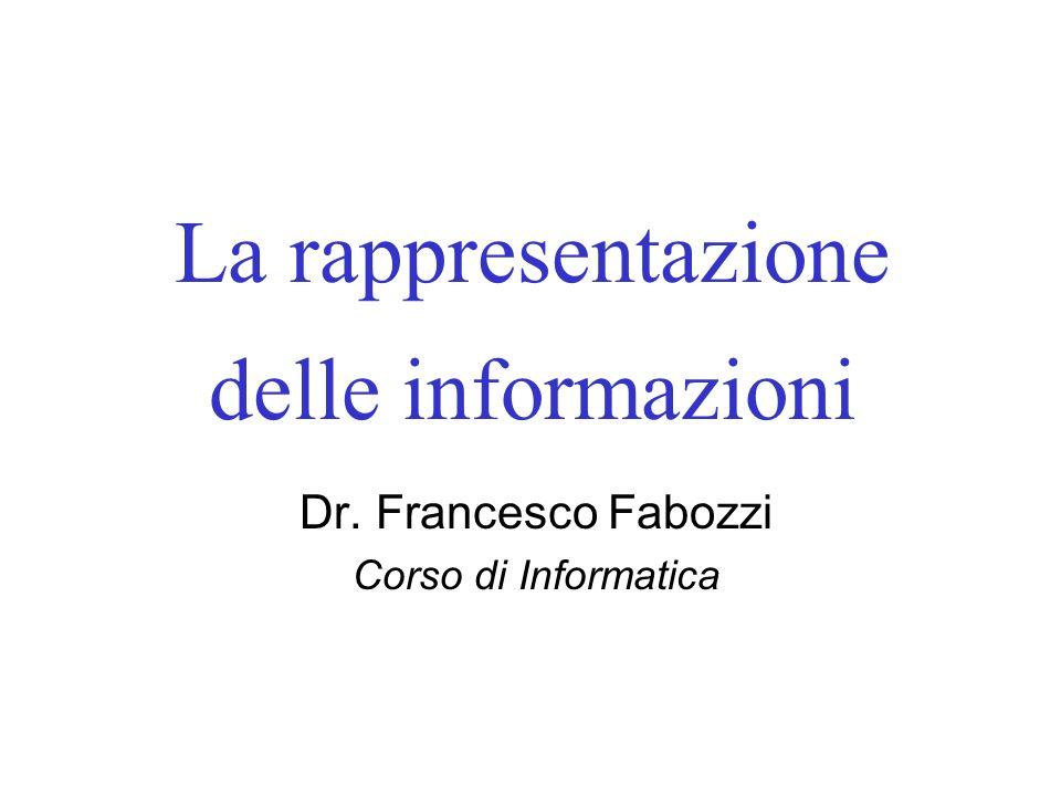 La rappresentazione delle informazioni
