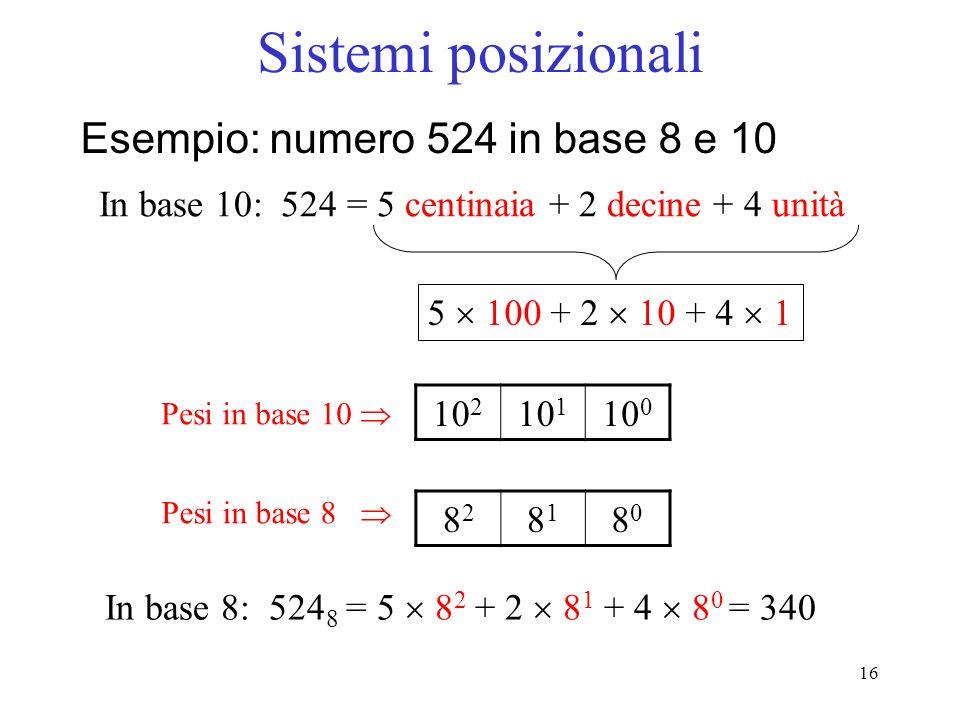 Sistemi posizionali Esempio: numero 524 in base 8 e 10