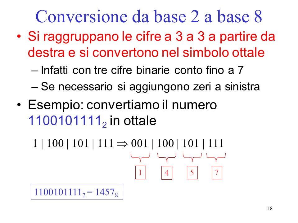 Conversione da base 2 a base 8