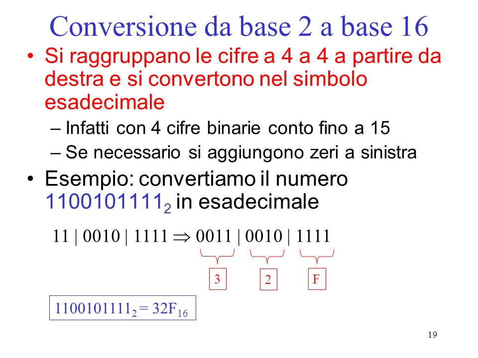 Conversione da base 2 a base 16