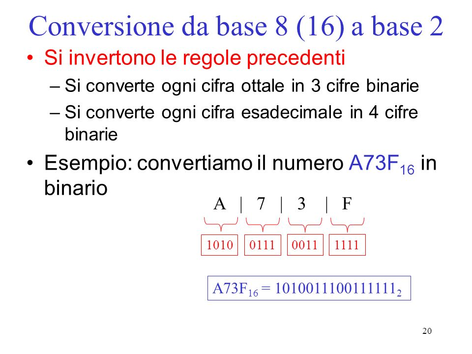 Conversione da base 8 (16) a base 2