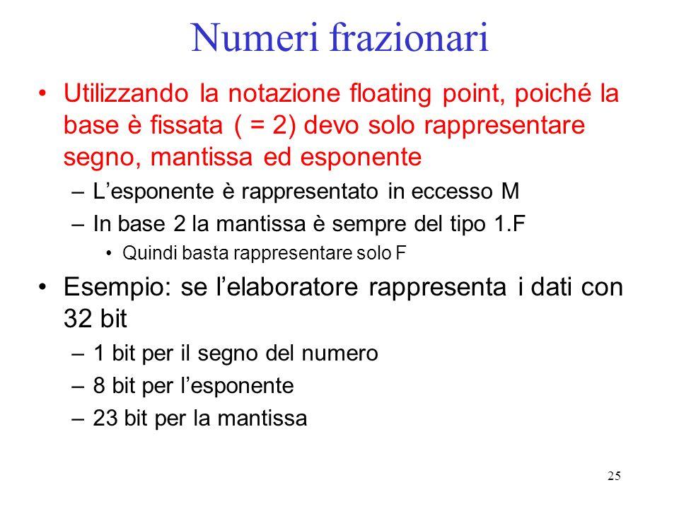 Numeri frazionari Utilizzando la notazione floating point, poiché la base è fissata ( = 2) devo solo rappresentare segno, mantissa ed esponente.