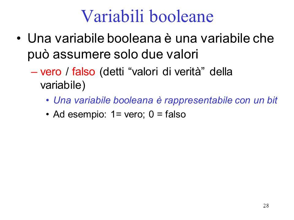 Variabili booleane Una variabile booleana è una variabile che può assumere solo due valori. vero / falso (detti valori di verità della variabile)
