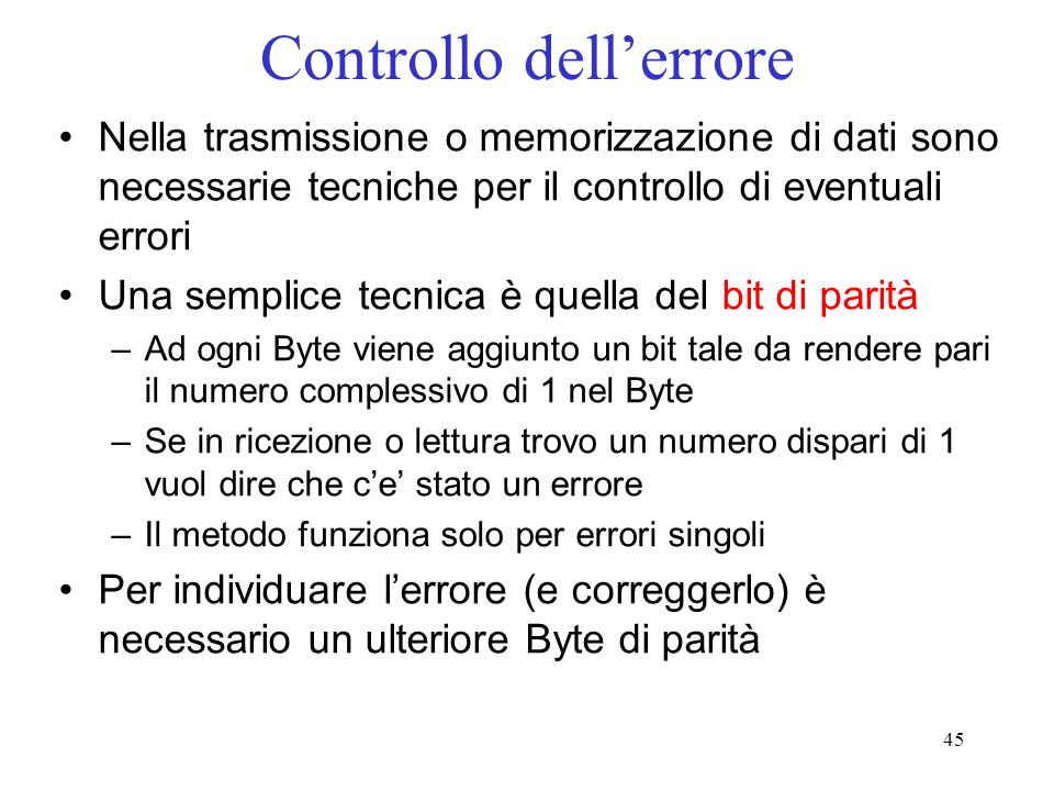 Controllo dell'errore