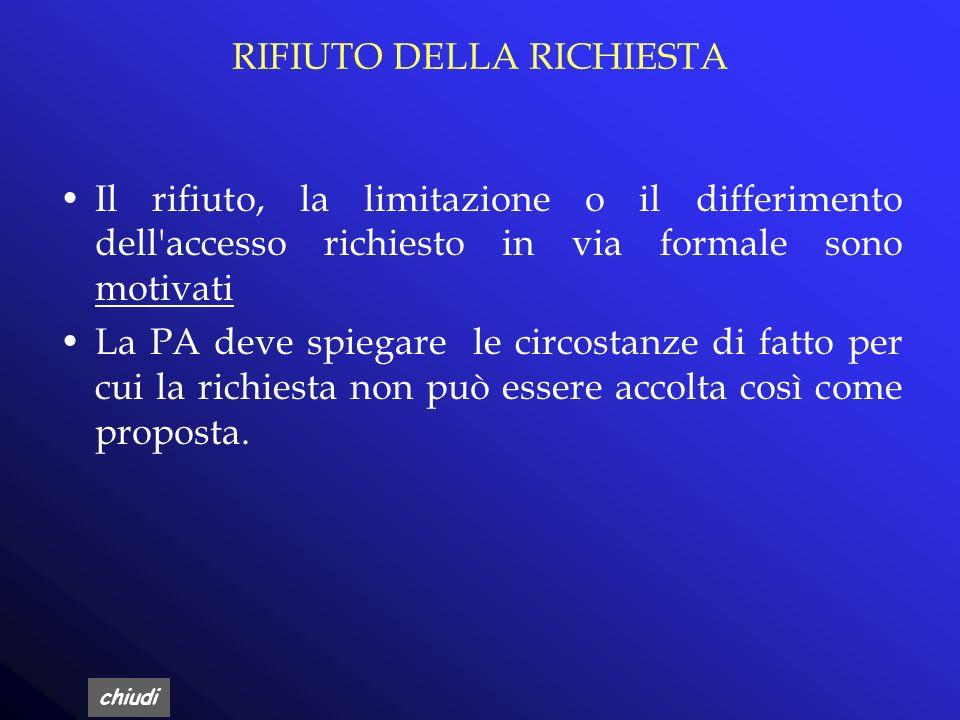 RIFIUTO DELLA RICHIESTA