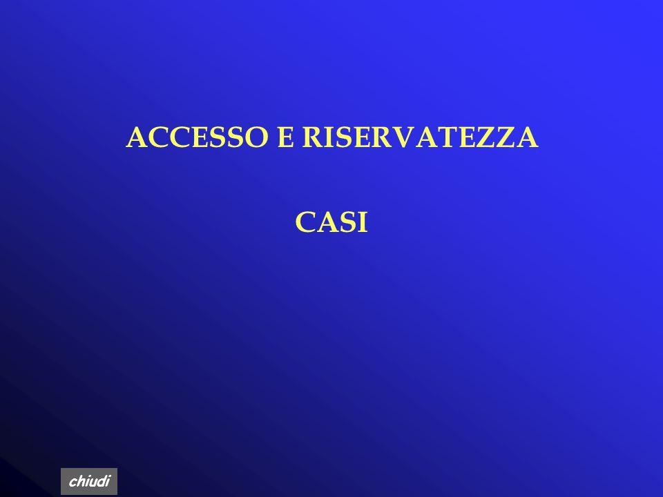 ACCESSO E RISERVATEZZA
