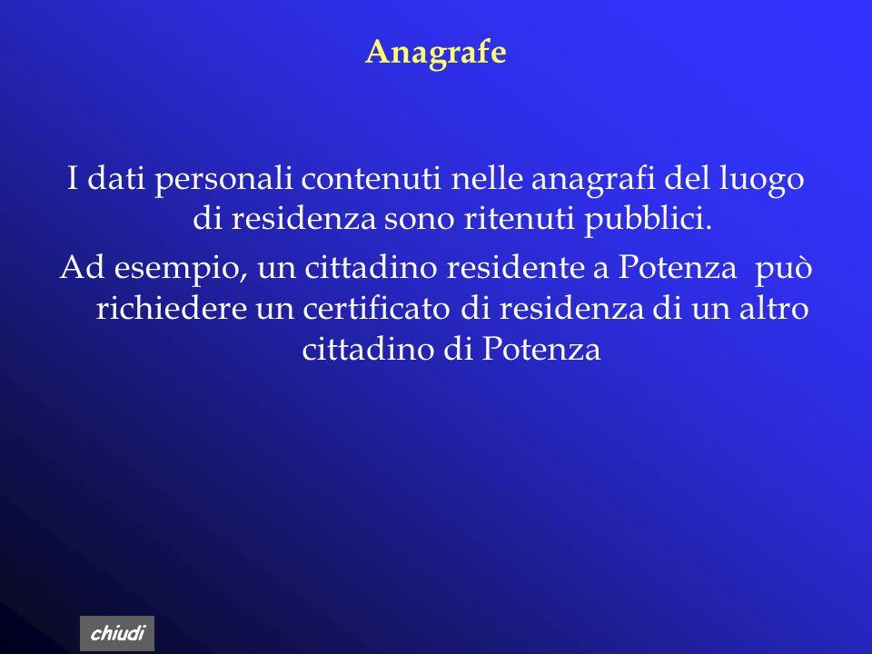 Anagrafe I dati personali contenuti nelle anagrafi del luogo di residenza sono ritenuti pubblici.
