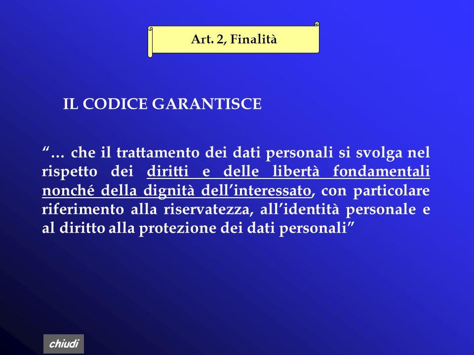 Art. 2, Finalità IL CODICE GARANTISCE.