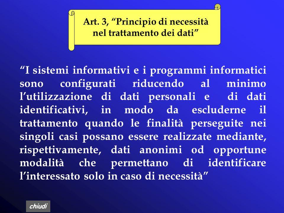 Art. 3, Principio di necessità nel trattamento dei dati