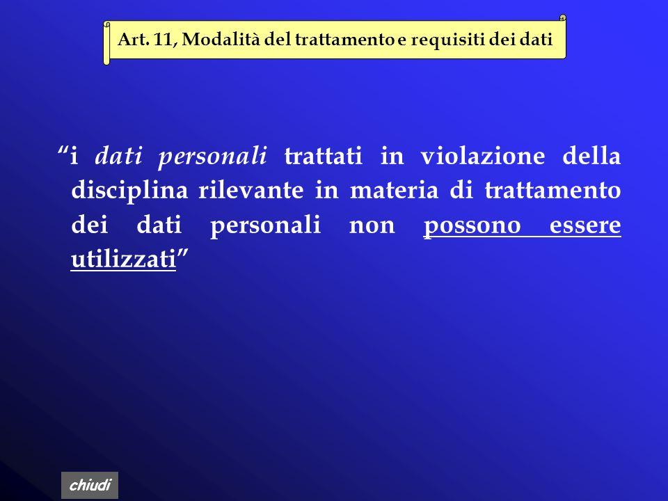 Art. 11, Modalità del trattamento e requisiti dei dati