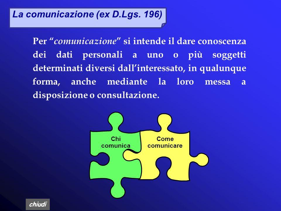 La comunicazione (ex D.Lgs. 196)