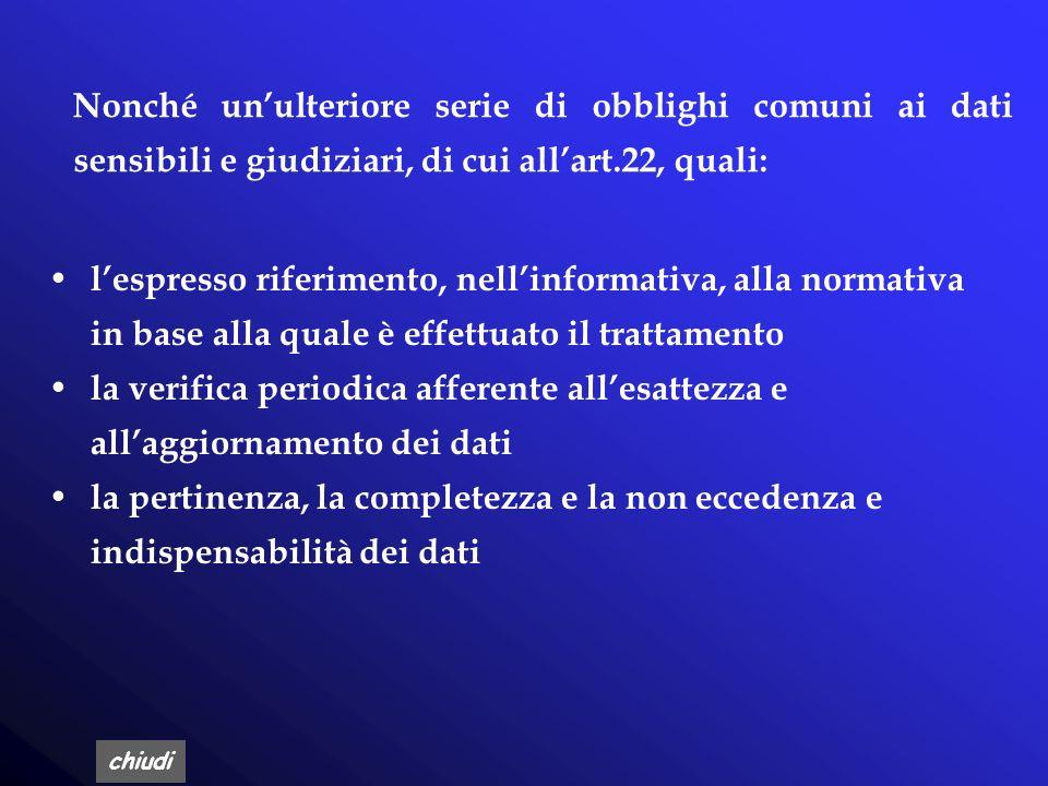 Nonché un'ulteriore serie di obblighi comuni ai dati sensibili e giudiziari, di cui all'art.22, quali:
