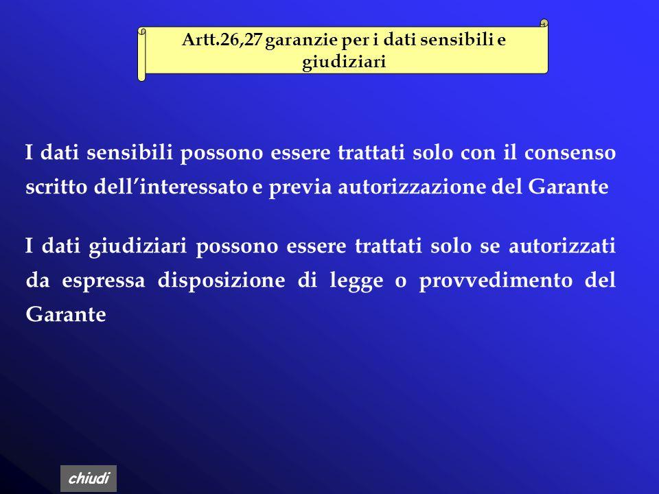 Artt.26,27 garanzie per i dati sensibili e giudiziari
