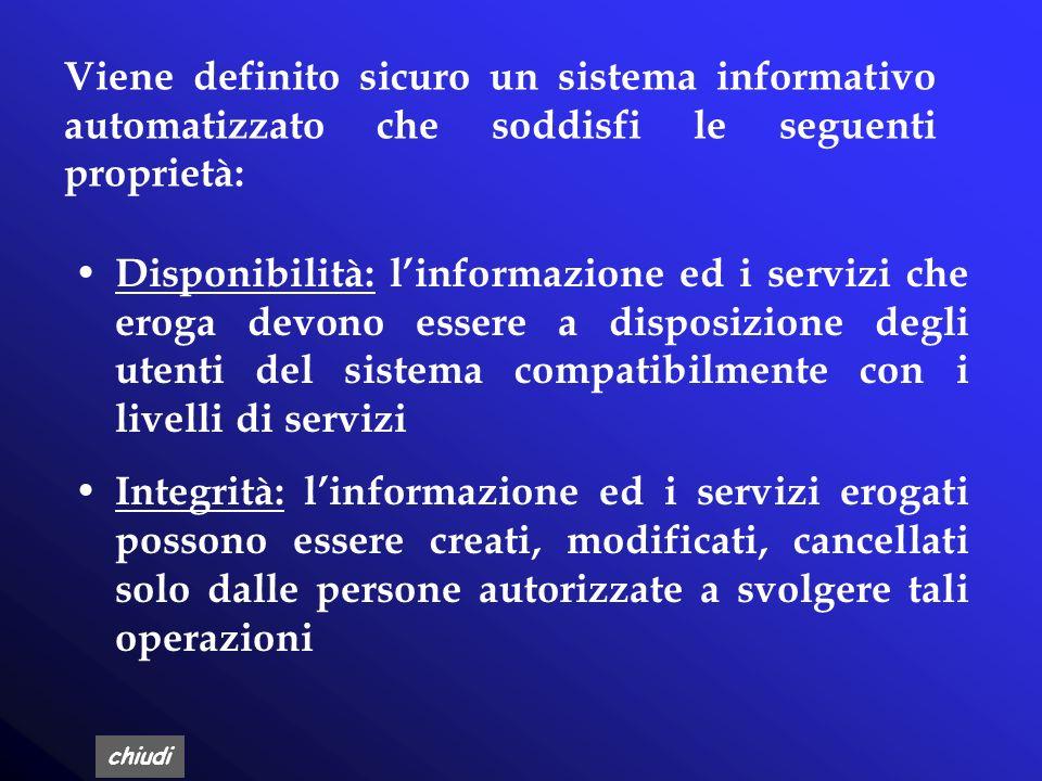Viene definito sicuro un sistema informativo automatizzato che soddisfi le seguenti proprietà: