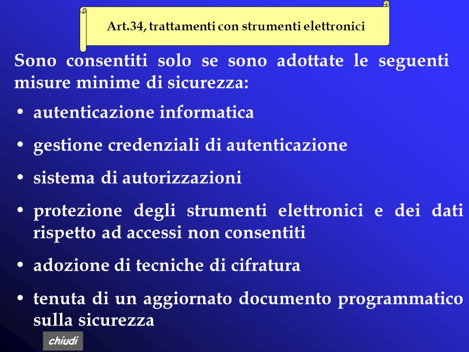 Art.34, trattamenti con strumenti elettronici