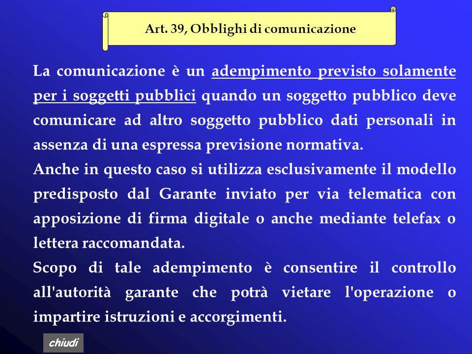Art. 39, Obblighi di comunicazione