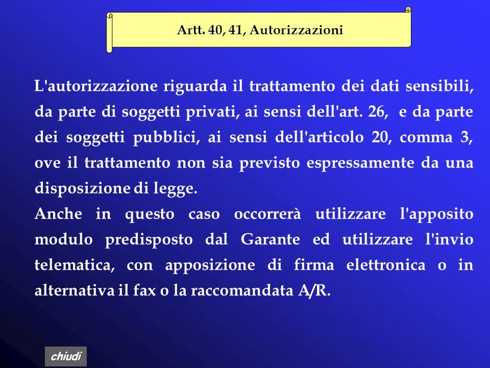 Artt. 40, 41, Autorizzazioni