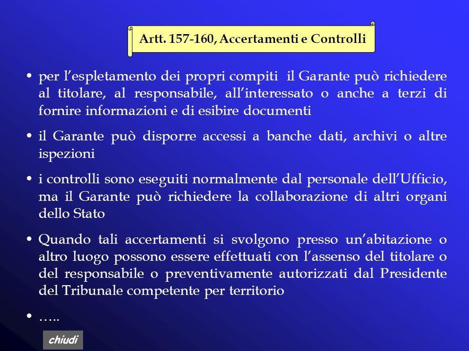 Artt. 157-160, Accertamenti e Controlli