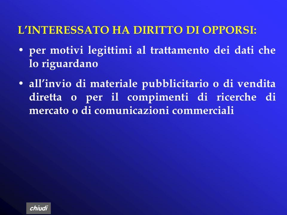 L'INTERESSATO HA DIRITTO DI OPPORSI: