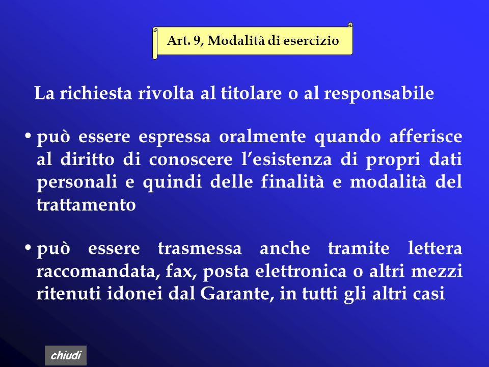 Art. 9, Modalità di esercizio