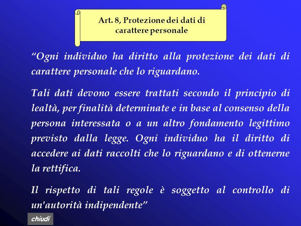 Art. 8, Protezione dei dati di carattere personale