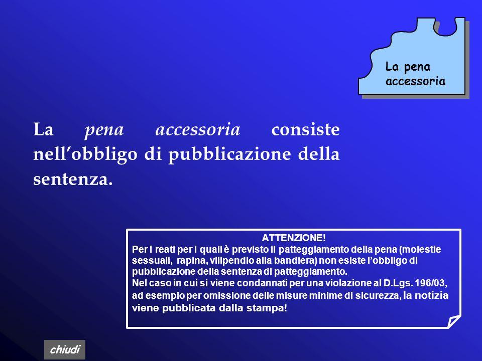 La pena accessoria La pena accessoria consiste nell'obbligo di pubblicazione della sentenza. ATTENZIONE!